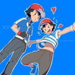 2boys :d ame_(ame025) ash_ketchum bangs baseball_cap black_hair blue_background blue_footwear blue_jacket brown_eyes brown_pants collared_jacket commentary_request copyright_name dual_persona grey_pants hat heart holding holding_poke_ball jacket looking_at_viewer looking_down male_focus multiple_boys open_mouth outline pants parted_lips poke_ball poke_ball_(basic) pokemon pokemon_(anime) pokemon_sm_(anime) pokemon_xy_(anime) popped_collar red_headwear shirt shoes short_hair short_sleeves simple_background smile striped striped_shirt t-shirt tongue