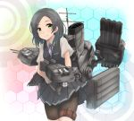 1girl bike_shorts black_hair black_shorts black_skirt black_vest blue_neckwear blue_ribbon blush breast_pocket buttons collared_shirt cowboy_shot dress_shirt eyebrows_visible_through_hair gloves hair_ornament hairclip highres holster honeycomb_(pattern) honeycomb_background kantai_collection kuroshio_(kantai_collection) looking_at_viewer machinery mast medium_hair neck_ribbon pleated_skirt pocket remodel_(kantai_collection) ribbon rigging searchlight shiny shiny_clothes shiny_skin shirt short_sleeves shorts shorts_under_skirt skirt smile smokestack solo thigh_holster tr-6 turret vest white_gloves white_shirt wing_collar yellow_eyes