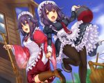 2girls ahoge bangs between_breasts breasts broom commentary_request dress dual_persona em_s eyebrows_visible_through_hair frilled_dress frills hair_between_eyes hair_flaps hair_ornament hand_holding headband japanese_clothes kantai_collection looking_at_viewer low_twintails magatama maid_dress medium_breasts multiple_girls necktie necktie_between_breasts open_mouth outdoors pantyhose purple_hair red_neckwear remodel_(kantai_collection) ryuuhou_(kantai_collection) school_uniform serafuku smile taigei_(kantai_collection) twintails whale_hair_ornament