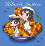2girls black_hair blue_background blue_eyes blue_sailor_collar brown_eyes chaki_(teasets) daitou_(kantai_collection) dress food grin hat hiburi_(kantai_collection) kantai_collection minigirl multiple_girls open_mouth oversized_object ponytail potato sailor_collar sailor_dress sailor_hat short_hair short_sleeves smile sparkle_background white_hat