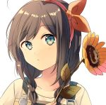 1girl ahoge alternate_costume alternate_hairstyle blue_eyes blush braid brown_hair close-up flower hair_ribbon highres kantai_collection ribbon shigure_(kantai_collection) simple_background solo sunflower white_background yukichi_(eikichi)