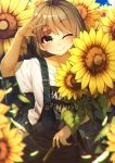 1girl absurdres bangs blurry blush brown_eyes buttons closed_mouth collarbone cowboy_shot day flower highres light_brown_hair looking_at_viewer one_eye_closed original outdoors rerrere shirt short_hair smile sunflower t-shirt white_shirt