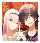1boy 1girl bangs black_hair black_hairband black_shirt blue_eyes couple darling_in_the_franxx eyebrows_visible_through_hair eyes_visible_through_hair flower green_eyes green_shirt hair_ornament hairband hand_holding hetero highres hiro_(darling_in_the_franxx) horns interlocked_fingers long_hair long_sleeves looking_at_another looking_at_viewer nakoya_(nane_cat) one_eye_closed oni_horns open_mouth pink_hair red_horns shirt short_hair signature zero_two_(darling_in_the_franxx)
