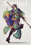 1girl armor breastplate fire_emblem fire_emblem:_akatsuki_no_megami fire_emblem:_souen_no_kiseki green_eyes green_hair grey_background gzei helm helmet high_heels holding holding_spear holding_weapon long_hair looking_at_viewer nephenee pauldrons polearm simple_background skirt solo spear thigh-highs weapon
