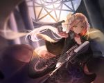 1girl assault_rifle bangs black_dress boots breasts bullpup character_name cleavage closed_mouth collarbone day dress expressionless floating_hair flower girls_frontline gun hair_between_eyes hair_flower hair_ornament hair_ribbon highres holding holding_gun holding_weapon indoors long_hair looking_away mole mole_under_eye one_eye_closed orange_eyes rec.07 ribbon rifle sidelocks steyr_aug steyr_aug_(girls_frontline) thigh-highs thigh_boots thighs very_long_hair weapon wind wind_lift window