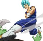 2boys absurdres blue_eyes blue_hair boots commentary crossed_arms dougi dragon_ball dragon_ball_super dragonball_z earrings english_commentary fighting_stance fused_zamasu gloves highres jewelry kicking male_focus multiple_boys open_mouth potara_earrings short_hair simple_background spiky_hair super_saiyan_blue tears vegetto white_background zamasu