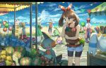 2boys 3girls apron bag balloon bare_arms beach beach_umbrella berries bike_shorts blue_sky bow brown_hair creature day denim denim_shorts dog dress green_dress grovyle hair_bow hand_on_own_chin haruka_(pokemon) hat holding holding_bag innertube looking_down marill market marshtomp merchant mouse multiple_boys multiple_girls ocean outdoors pants pippi_(pixiv_1922055) pokemon pokemon_(creature) pokemon_(game) pokemon_rse ponytail poochyena shopping shorts skitty sky sleeping stall stone_floor stone_walkway stuffed_toy sun_hat umbrella whismur wingull yuuki_(pokemon)