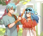 1boy 1girl 2900cm aqua_hair bag blue_eyes bracer brother_and_sister commentary_request cute eirika ephraim eyewear_on_head fan fire_emblem fire_emblem:_seima_no_kouseki fire_emblem:_the_sacred_stones fire_emblem_8 fire_emblem_heroes green_hair green_shirt holding holding_fan intelligent_systems long_hair moe nintendo one_eye_closed open_mouth outdoors pink_shirt shirt short_hair short_sleeves shoulder_bag siblings skirt spring_(season) super_smash_bros. suspender_skirt suspenders tree white_skirt