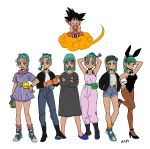 1boy 6+girls :d :o ;) absurdres adjusting_clothes adjusting_gloves alternate_color alternate_costume animal_ears aqua_eyes aqua_hair armpits arms_up artist_name bare_arms bare_legs bare_shoulders baseball_cap belt black_eyes black_footwear black_hair boots bracelet braid bulma bunny_tail bunnysuit character_name clothes_writing crossed_arms denim denim_shorts dragon_ball dragon_ball_(classic) dress dual_persona expressionless eyebrows_visible_through_hair eyelashes flying_nimbus full_body gloves hair_ribbon hand_on_hip happy hat high_heels highres jacket jeans jewelry leg_up looking_away looking_down looking_up multiple_girls necktie nightgown nyoibo okada_(hoooojicha) one_eye_closed open_mouth orange_legwear pants pantyhose purple_dress purple_legwear rabbit_ears radar ribbon scarf see-through shirt short_hair shorts simple_background sitting slippers smile socks son_gokuu spiky_hair standing striped tail vertical-striped_dress vertical_stripes white_background white_shirt