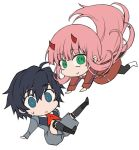 1boy 1girl bangs black_hair black_legwear blue_eyes boots brown_footwear commentary_request couple darling_in_the_franxx eyebrows_visible_through_hair green_eyes hair_ornament hairband herozu_(xxhrd) hetero hiro_(darling_in_the_franxx) horns long_hair long_sleeves looking_at_viewer military military_uniform necktie oni_horns pantyhose pink_hair red_horns red_neckwear shoes short_hair socks sweatdrop uniform white_footwear white_hairband zero_two_(darling_in_the_franxx)