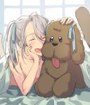 1boy ^_^ alternate_hairstyle chin_rest closed_eyes closed_eyes dog hair_ribbon long_hair lying makkachin male_focus momo_(22081240) on_stomach open_mouth ribbon shirtless silver_hair smile teenage tongue tongue_out twintails under_covers viktor_nikiforov younger yuri!!!_on_ice