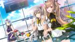 404_(girls_frontline) 4girls :d aircraft airplane airport armband bangs black_bow black_hairband black_jacket black_skirt blue_sky blurry blurry_foreground blush bow breasts brown_eyes brown_hair closed_eyes clouds cloudy_sky commentary_request day depth_of_field dinergate_(girls_frontline) dress dress_shirt dutch_angle english eyebrows_visible_through_hair facial_mark g11_(girls_frontline) girls_frontline green_eyes hair_between_eyes hair_bow hair_ornament hair_over_one_eye hairband hairclip heart highres hk416_(girls_frontline) holding indoors jacket juna long_hair long_sleeves looking_at_viewer looking_to_the_side medium_breasts miniskirt multiple_girls one_side_up open_clothes open_jacket open_mouth pleated_skirt purple_dress scar scar_across_eye shirt short_sleeves sidelocks silver_hair skirt sky sleeping sleeves_pushed_up smile twintails ump45_(girls_frontline) ump9_(girls_frontline) very_long_hair violet_eyes white_shirt