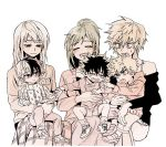 3boys 3girls bakugou_katsuki bakugou_mitsuki blush boku_no_hero_academia cardigan cheek_pinching child closed_eyes crying fang freckles hand_holding highres hood hoodie long_hair midoriya_inko midoriya_izuku mongsik monochrome mother_and_son multiple_boys multiple_girls open_mouth pinching short_hair skirt smile sweatdrop sweater tears todoroki_rei todoroki_shouto younger
