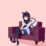 1girl animal_ears black_hair black_legwear blue_eyes boa_(brianoa) cat_ears cat_tail dress gokou_ruri high_heels highres hime_cut long_hair mole mole_under_eye ore_no_imouto_ga_konna_ni_kawaii_wake_ga_nai shoe_dangle sitting solo tail thigh-highs zettai_ryouiki