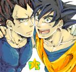 2boys :d black_eyes black_hair close-up copyright_name dougi dragon_ball dragonball_z face face-to-face frown gloves hands_on_another's_shoulders happy looking_at_viewer lowres male_focus multiple_boys mutsu_(pongo0062) open_mouth serious short_hair simple_background smile son_gokuu spiky_hair star upper_body vegeta white_background