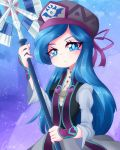 1girl axe beret blue_eyes blue_hair francisca_(kirby) hat heart highres kirby:_star_allies kirby_(series) littlecloudie long_hair looking_at_viewer personification