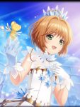 1girl antenna_hair artist_request brown_hair card_captor_sakura crown crystal dress gloves green_eyes kero kinomoto_sakura magical_girl official_art phantom_of_the_kill rooftop short_hair white_dress white_gloves