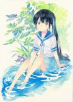 1girl agahari bangs barefoot black_hair blue_neckwear blue_ribbon blue_sailor_collar blue_skirt calligraphy_brush_(medium) closed_mouth colored_pencil_(medium) commentary_request highres leaf long_hair looking_at_viewer neck_ribbon original pleated_skirt ponytail ribbon sailor_collar shirt short_sleeves sitting skirt soaking_feet solo traditional_media very_long_hair water white_shirt yellow_eyes