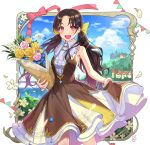 1girl 2018 :d absurdres bangs bare_arms bare_shoulders blue_flower blue_sky blush bouquet bow breasts bridge brown_dress brown_hair building clouds cloudy_sky commentary_request day dress eyebrows_visible_through_hair fingernails flower hair_bow hair_flower hair_ornament highres holding holding_bouquet horizon long_hair looking_at_viewer low_twintails mansu ocean open_mouth original parted_bangs pennant pink_eyes pink_flower pink_rose pleated_dress red_bow rose round_teeth signature skirt_hold sky sleeveless sleeveless_dress small_breasts smile solo string_of_flags teeth twintails upper_teeth v-shaped_eyebrows very_long_hair water white_flower yellow_bow yellow_flower yellow_rose