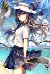 1girl animal bangs beach bird blue_bow blue_neckwear blue_sailor_collar blue_skirt blue_sky blurry blurry_background blush bottle bow brown_eyes brown_hair clouds commentary_request day depth_of_field flying hair_between_eyes hand_up hat hat_bow holding holding_bottle horizon kouyafu long_hair looking_at_viewer looking_to_the_side neckerchief ocean original outdoors parted_lips pleated_skirt ramune sailor_collar sand school_uniform serafuku shirt short_sleeves signature skirt sky solo standing very_long_hair water white_hat white_shirt