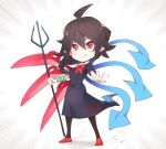 1girl ahoge asutora asymmetrical_wings black_dress black_hair black_legwear blue_wings bow bowtie chibi commentary_request dress emphasis_lines full_body hair_between_eyes holding holding_weapon houjuu_nue pointy_ears polearm red_bow red_eyes red_footwear red_neckwear red_wings shoes short_hair short_sleeves simple_background snake solo standing touhou trident weapon white_background wings