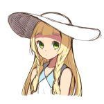 1girl absurdres blonde_hair braid dress green_eyes hat highres lillie_(pokemon) long_hair pokemon pokemon_(game) pokemon_sm simple_background sleeveless sleeveless_dress solo sun_hat twin_braids white_background white_dress white_hat yugion