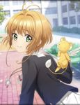 1girl antenna_hair artist_request card_captor_sakura green_eyes jewelry kero kinomoto_sakura light_brown_hair looking_at_viewer official_art pendant phantom_of_the_kill school school_uniform short_hair smile tomoeda_middle_school_uniform