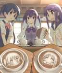 3girls :d bangs blue_eyes blue_hair blue_sailor_collar blush bow breasts closed_mouth coffee collared_shirt commentary_request crossover cup day dress_shirt eyebrows_visible_through_hair gochuumon_wa_usagi_desu_ka? hair_between_eyes hair_ornament hairclip hands_up hinata_yukari indoors kin-iro_mosaic komichi_aya latte_art long_sleeves medium_breasts multiple_crossover multiple_girls necktie open_mouth pink_bow purple_bow purple_hair purple_vest rabbit_house_uniform sailor_collar saucer school_uniform serafuku shirt short_sleeves signature smile striped striped_bow sweater_vest teacup tedeza_rize twintails umiroku uniform vest violet_eyes waitress white_shirt window yellow_neckwear yuyushiki