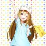 1girl ;d absurdres arm_up bangs blue_shirt blush brown_eyes brown_hair character_name commentary_request eyebrows_visible_through_hair flag flat_cap hair_between_eyes hat hataraku_saibou heart heart_background highres holding holding_flag long_hair multicolored multicolored_polka_dots one_eye_closed open_mouth platelet_(hataraku_saibou) polka_dot polka_dot_background round_teeth shirt short_sleeves smile solo teeth the_cold upper_teeth very_long_hair white_background white_hat