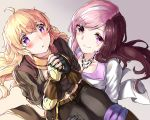2girls ahoge belt black_gloves blonde_hair blush breasts brown_hair carrying cleavage commentary fingerless_gloves gloves heart heart-shaped_pupils jewelry long_hair multicolored_hair multiple_girls necklace neo_(rwby) open_mouth pink_eyes pink_hair princess_carry rwby smile symbol-shaped_pupils tl two-tone_hair violet_eyes yang_xiao_long yuri