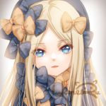 1girl abigail_williams_(fate/grand_order) black_bow blonde_hair blue_eyes bow close-up expressionless face fate/grand_order fate_(series) grey_background hair_bow haneru long_hair looking_at_viewer orange_bow parted_lips signature solo