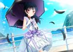 >:) 1girl bangs black_feathers black_hair black_wings bow choker day dress earrings feathered_wings feathers frilled_umbrella frills gloves highres holding holding_umbrella jewelry long_hair looking_at_viewer love_live! love_live!_sunshine!! motoasako ocean outdoors purple_bow purple_choker railing side_bun smile solo tsushima_yoshiko umbrella white_gloves wings