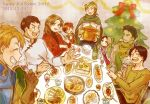 black_hair bowl brown_hair cho_(taronana) christmas cleo_(suikoden) commentary_request facial_scar father_and_son gensou_suikoden gensou_suikoden_i ghost gremio multiple_boys multiple_girls older pahn plump scar scar_on_cheek short_hair spoon table ted_(suikoden) teo_mcdohl tir_mcdohl tray