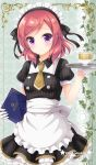 1girl apron circle_name collared_dress copyright_name cup dress gloves hair_ribbon highres holding holding_menu holding_tray looking_at_viewer love_live! love_live!_school_idol_project maid maid_headdress medium_hair necktie nishikino_maki redhead ribbon sakurai_makoto_(custom_size) short_sleeves smile solo striped striped_ribbon teacup tray vertical_stripes violet_eyes waist_apron white_apron white_gloves yellow_neckwear