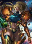 1girl abs arm_cannon blonde_hair blue_eyes blue_legwear commentary english_commentary expressionless highleg highleg_panties highres looking_to_the_side metroid mole mole_under_mouth muscle muscular_female navel panties parted_lips samus_aran sleeveless soffa solo space star_(sky) stomach thigh-highs thigh_gap toned transforming_clothes underwear varia_suit weapon