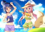 2girls :d blue_eyes blue_hair blurry chikuwa_(yurucamp) clenched_hand clouds collarbone day depth_of_field dog eyebrows_visible_through_hair frilled_swimsuit frills green_swimsuit groin hair_bun hair_ornament hair_scrunchie halterneck hat holding kagamihara_nadeshiko long_hair looking_at_another low_twintails mori_airi multiple_girls navel open_mouth outdoors pink_hair purple_swimsuit rainbow scrunchie shima_rin sky smile sparkle standing straw_hat swimsuit twintails twitter_username very_long_hair violet_eyes water water_drop water_gun wrist_scrunchie yurucamp