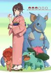 1girl blush brown_hair crossover full_body gen_1_pokemon geta gintama highres ivysaur japanese_clothes kimono kobaji nidoqueen obi poke_ball pokemon pokemon_(creature) pokemon_go sash shimura_tae smile vulpix