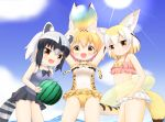 3girls :d adapted_costume animal_ears ball bare_arms bare_shoulders beachball black_hair blonde_hair blush breasts brown_eyes casual_one-piece_swimsuit commentary_request common_raccoon_(kemono_friends) covered_navel fang fennec_(kemono_friends) fox_ears fox_girl fox_tail highres holding holding_ball innertube kemono_friends looking_at_viewer medium_breasts multicolored_hair multiple_girls navel one-piece_swimsuit open_mouth pink_bikini_top purple_swimsuit raccoon_ears raccoon_girl raccoon_tail serval_(kemono_friends) serval_ears serval_print serval_tail shin01571 silver_hair small_breasts smile standing swimsuit tail transparent two-tone_hair white_bikini_bottom white_hair white_swimsuit yellow_innertube