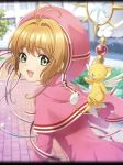 1girl antenna_hair artist_request bangs card_captor_sakura dress eyebrows_visible_through_hair green_eyes hat kero kinomoto_sakura light_brown_hair looking_at_viewer official_art open_mouth phantom_of_the_kill pink_capelet pink_dress pink_hat short_hair staff