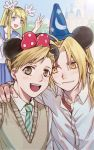 1girl 2boys :d alphonse_elric bangs blonde_hair blue_eyes blue_hat blurry blush brothers brown_eyes castle close-up cosplay day depth_of_field disney disneyland edward_elric eyebrows_visible_through_hair fingernails fullmetal_alchemist gloves hair_ribbon hands_on_another's_shoulders happy hat highres long_hair looking_at_another looking_at_viewer mickey_mouse mickey_mouse_(cosplay) mickey_mouse_ears minnie_mouse minnie_mouse_(cosplay) multiple_boys necktie open_mouth outdoors red_ribbon ribbon school_uniform shirt short_hair siblings smile upper_body v vest white_gloves white_shirt winry_rockbell yellow_eyes