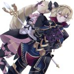 1boy 1girl aone_hiiro armor black_armor blonde_hair book bow brother_and_sister closed_eyes closed_mouth dress earrings elise_(fire_emblem_if) fire_emblem fire_emblem_if gauntlets hairband holding holding_book jewelry leon_(fire_emblem_if) long_hair multicolored_hair pink_bow purple_hair red_eyes short_hair siblings simple_background staff thigh-highs twintails white_background zettai_ryouiki