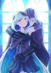 1boy 1girl armor armored_dress armpits black_gloves black_skirt blue_background blue_eyes brynhildr_(fate) cape couple fate/grand_order fate_(series) glasses gloves hetero highres hug hug_from_behind long_hair looking_at_viewer multicolored_hair purple_cape purple_gloves purple_hair sigurd_(fate/grand_order) skirt two-tone_hair upper_body violet_eyes white_hair yumeha_tseru