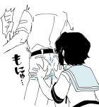 1boy 1girl admiral_(kantai_collection) ass_grab bent_over greyscale groping kantai_collection military military_uniform miyuki_(kantai_collection) monochrome school_uniform serafuku short_sleeves surprised uniform