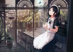 1girl absurdres apron bangs birdcage black_hair book bracelet brown_eyes bug butterfly cage cup drinking_glass hennekobakatesu highres indoors insect jewelry looking_away maid maid_apron maid_headdress original parted_bangs plant potted_plant short_hair sitting solo wine_glass
