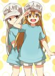 2girls :s blonde_hair blue_shirt clothes_writing grey_eyes hair_between_eyes hat hataraku_saibou long_hair looking_at_viewer multiple_girls orange_eyes peaked_cap platelet_(hataraku_saibou) rikosyegou salute shirt shorts silver_hair t-shirt tareme tsurime very_long_hair white_shorts