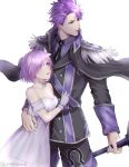 1boy 1girl alternate_costume bare_shoulders breasts cleavage commentary_request dress fate/grand_order fate_(series) gloves hair_over_one_eye highres holding holding_sword holding_weapon lancelot_(fate/grand_order) long_sleeves looking_at_another mash_kyrielight purple_hair short_hair sword twitter_username violet_eyes weapon white_dress white_gloves yaesan6