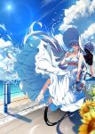 1boy 1girl anastasia_(fate/grand_order) bangle bangs bare_arms bare_shoulders beach bicycle black_shirt blue_eyes blue_sky blurry blurry_foreground bracelet breasts cleavage clouds cloudy_sky collarbone commentary_request day depth_of_field dress eyebrows_visible_through_hair fan fate/grand_order fate_(series) fingernails flower food ground_vehicle hair_over_one_eye hamada_pochiwo high_heels highres holding holding_fan holding_food horizon jewelry kadoc_zemlupus long_hair medium_breasts multiple_riders ocean outdoors paper_fan popsicle sand sandals shirt short_sleeves silver_hair sky strapless strapless_dress sunflower tongue tongue_out very_long_hair water white_dress white_footwear yellow_flower