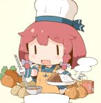 1girl adapted_costume anchor_symbol apron blue_sailor_collar bob_cut braid buttons can carrot chef_hat cooking curry curry_rice etorofu_(kantai_collection) eyebrows_visible_through_hair food gloves hanomido hat kantai_collection ladle onion open_mouth pot potato redhead rice sailor_collar school_uniform serafuku side_braid simple_background smile solo thick_eyebrows toque_blanche twin_braids white_background white_gloves yellow_apron |_|