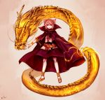 1girl anklet belt black_belt blonde_hair blouse bracelet cape commentary dragon earmuffs eastern_dragon full_body gold_trim grin hair_between_eyes high_collar highres jewelry looking_at_viewer parted_lips pointy_hair purple_cape purple_skirt sandals scabbard shan sheath sheathed short_hair skirt smile solo standing sword tan_background touhou toyosatomimi_no_miko weapon yellow_eyes yellow_footwear