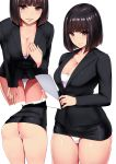 1girl ass bangs black_hair black_jacket black_skirt black_suit blunt_bangs blush bob_cut breasts brown_eyes buttons cleavage closed_mouth collarbone commentary_request cowboy_shot eyebrows_visible_through_hair fingernails formal hand_on_own_thigh highres holding holding_paper ishimiso_(ishimura) jacket large_breasts leaning_forward long_sleeves looking_at_viewer microskirt miniskirt multiple_views no_pants office_lady original panties pantyshot paper parted_lips pencil_skirt shiny shiny_hair shiny_skin short_hair simple_background skirt skirt_suit smile solo standing suit thigh_gap thighs underwear uniform white_background white_panties